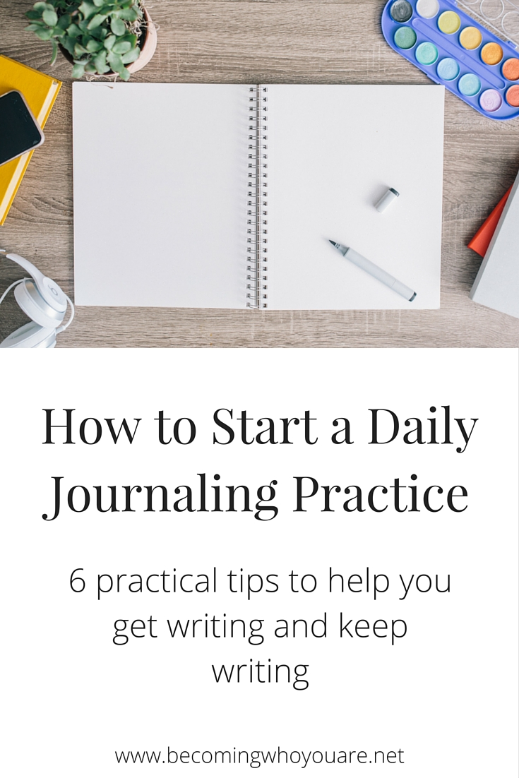 Kickstart your daily journaling practice with these 6 suggestions that will help you get put pen to paper, plus a year's worth of journaling prompts to keep you inspired! Click the image >>> | www.becomingwhoyouare.net