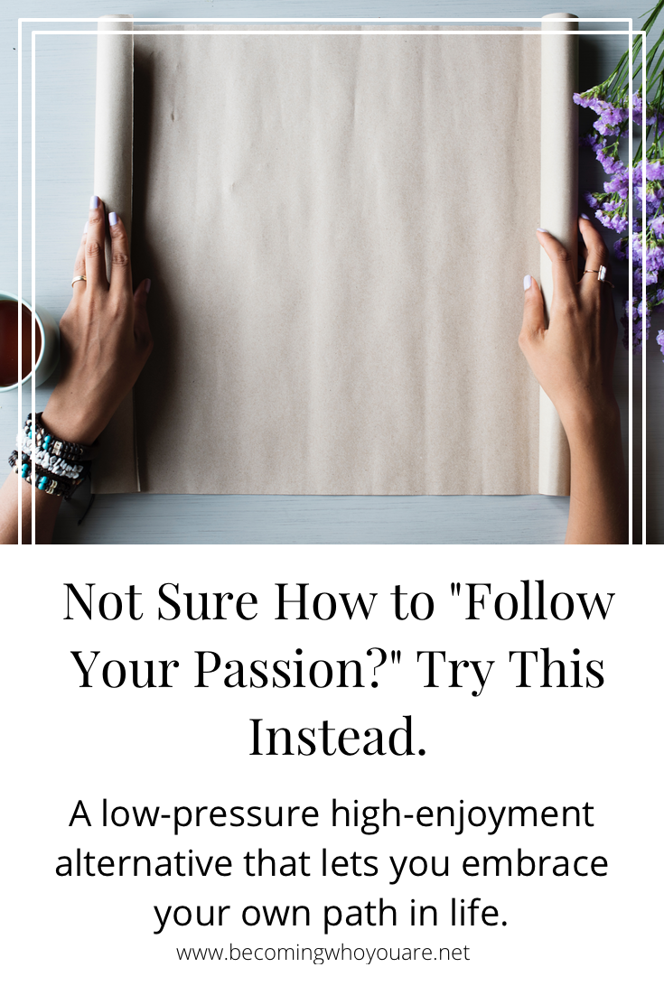 "Not sure how to ""follow your passion?"" If that advice doesn't resonate for you, here's an alternative that might help! Click to keep reading..."