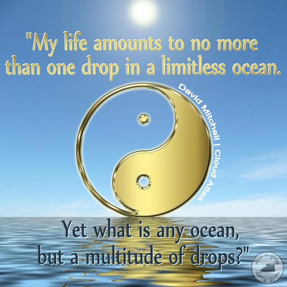 "My life amounts to no more than one drop in a limitless ocean. Yet what is any ocean, but a multitude of drops?"" ~David Mitchell, Cloud Atlas quote"