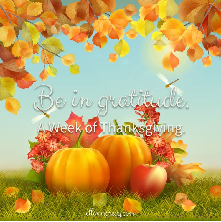 Be in gratitude. ~ A week of thanksgiving, day 6