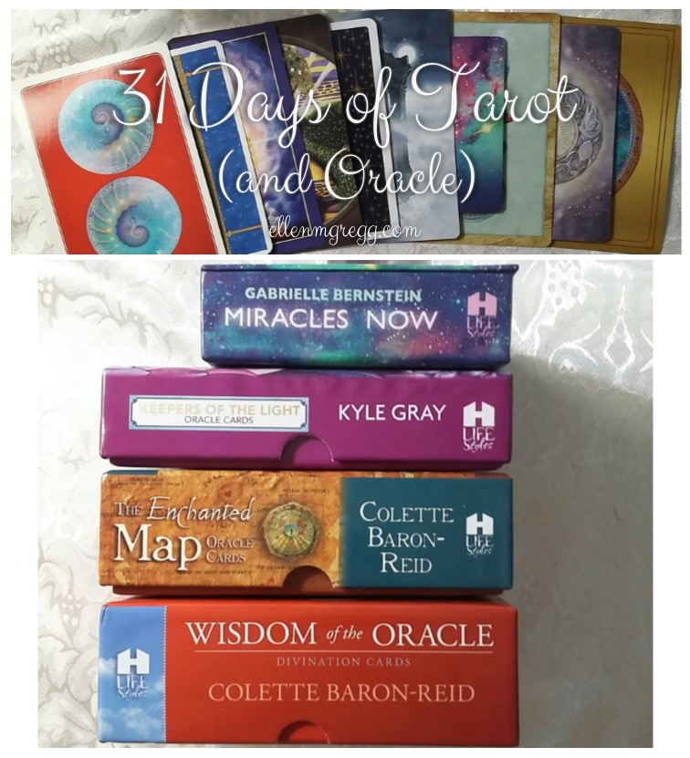 31 Days of Tarot, Day 3: Top Oracle Decks from 2016 ~ Wisdom of the Oracle and The Enchanted Map by Colette Baron-Reid, Keepers of the Light by Kyle Gray, Miracles Now by Gabrielle Bernstein