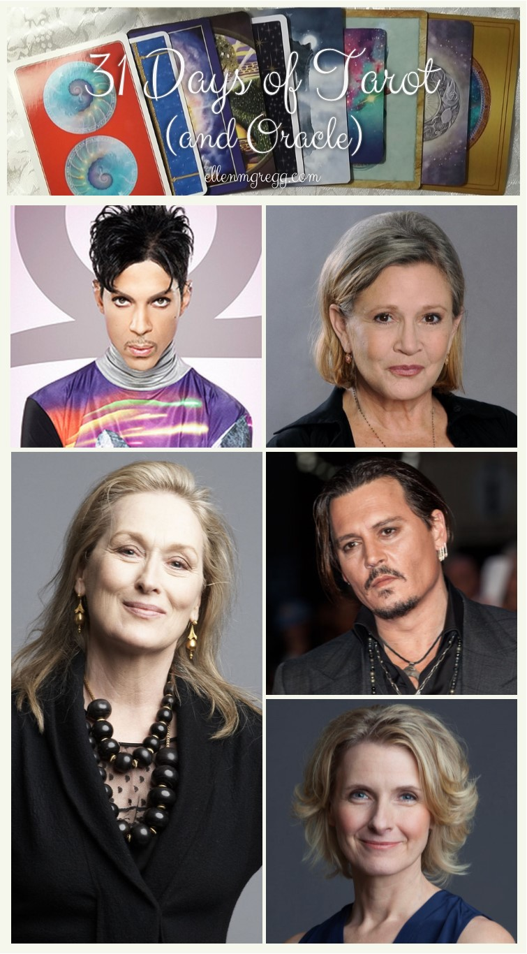 31 Days of Tarot, Day 25: 5 Famous People I'd Love to Read For: Prince, Carrie Fisher, Meryl Streep, Johnny Depp, Elizabeth Gilbert