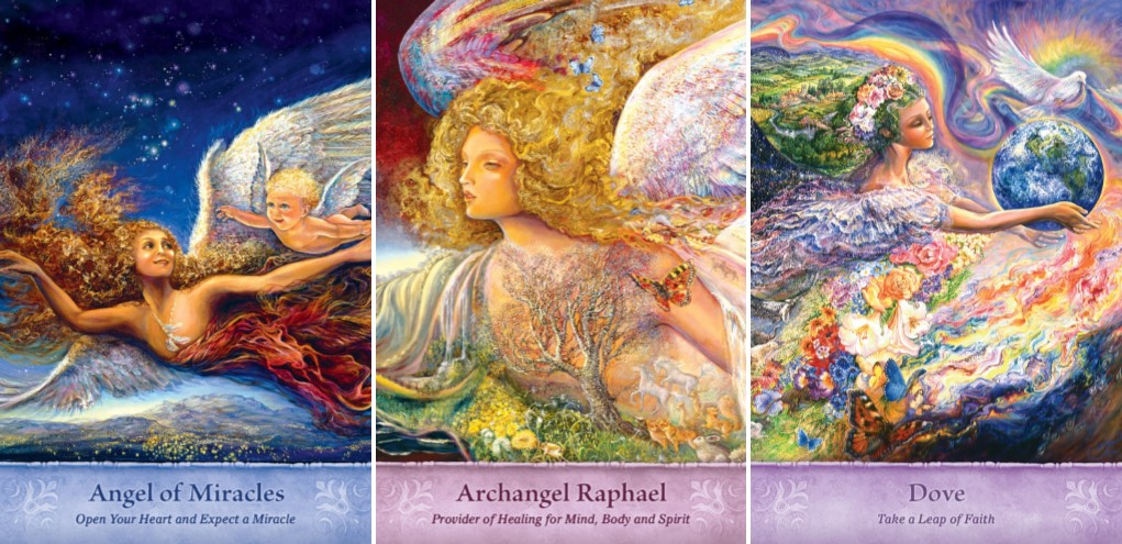 Examples from Gaye Guthrie's and Josephine Walls' Mystical Wisdom Card Deck: Angel of Miracles, Archangel Raphael, Dove