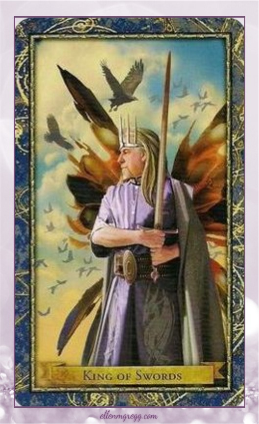 Daily Divination: 19 April, 2017 ~ King of Swords from Wizards Tarot, created by Corrine Kenner, illustrated by John J. Blumen, published by Llewellyn Worldwide.