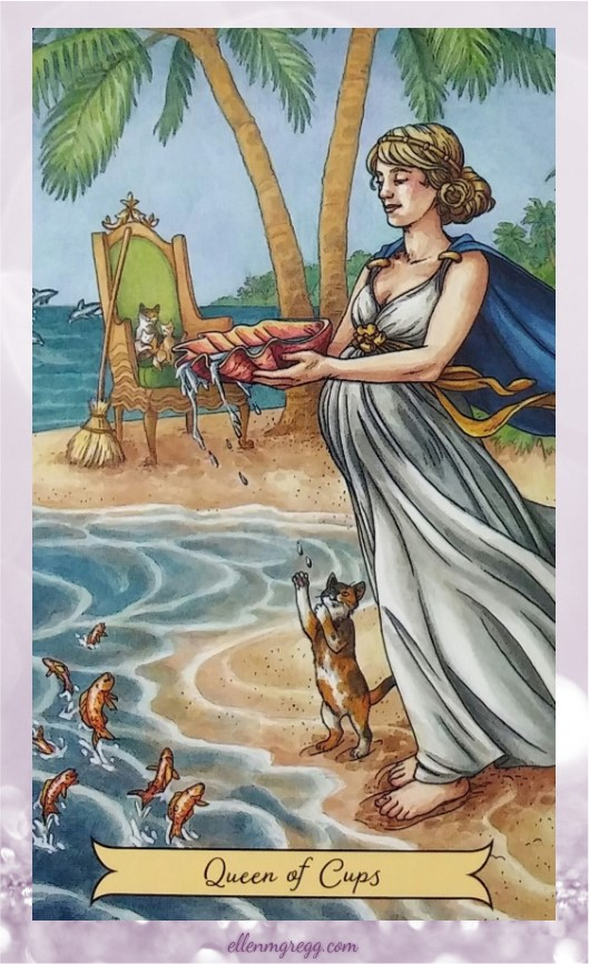 Daily Divination: 17 May, 2017 ~ Queen of Cups from Everyday Witch Tarot by Deborah Blake, with art by Elisabeth Alba, published by Llewellyn.