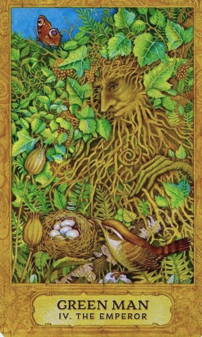 Green Man: The Emperor ~ Chrysalis Tarot, written by Toney Brooks with paintings by Holly Sierra, published by U.S. Games Systems, Inc.