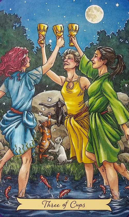 Three of Cups ~ Everyday Witch Tarot, created by Deborah Blake, illustrated by Elisabeth Alba, published by Llewellyn Publishing.