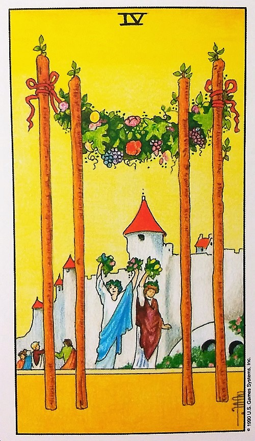 Four of Wands ~ Universal Waite Tarot by Stuart P. Kaplan, drawings by Pamela Colman Smith, recolored by Mary Hanson-Roberts, published by U.S. Games Systems, Inc.