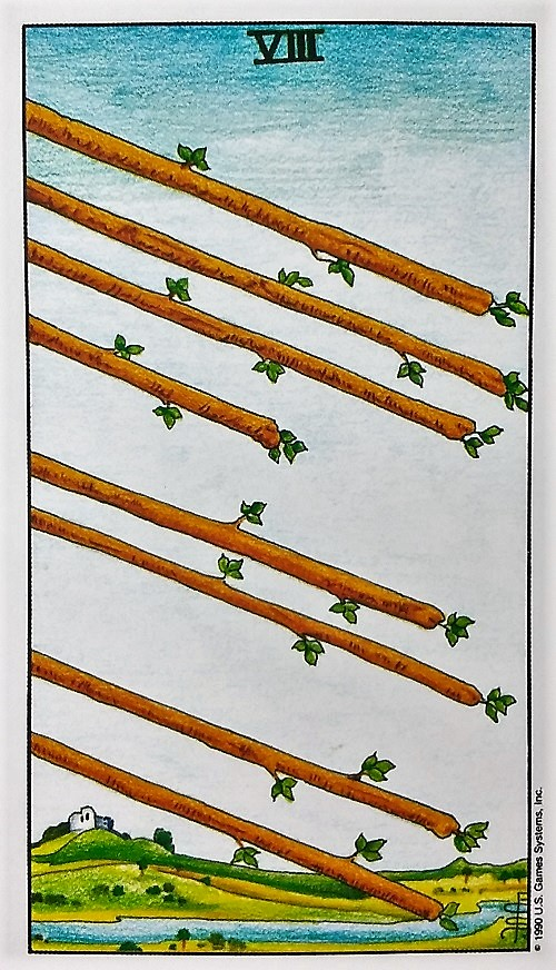 Eight of Wands ~ Universal Waite Tarot by Stuart P. Kaplan, drawings by Pamela Colman Smith, recolored by Mary Hanson-Roberts, published by U.S. Games Systems, Inc.