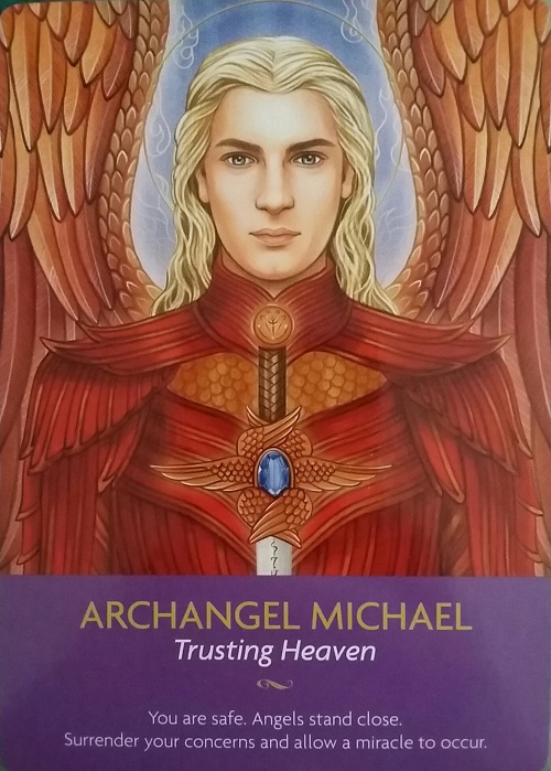Archangel Michael ~ Keepers of the Light oracle cards, created by Kyle Gray, artwork by Lily Moses, published by Hay House LifeStyles.