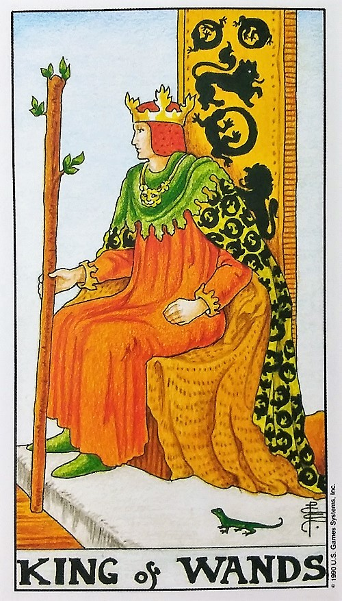 King of Wands ~ Universal Waite Tarot Deck by Stuart P. Kaplan, paintings by Pamela Colman Smith, recoloring by Mary Hanson-Roberts, published by U.S. Games Systems, Inc.