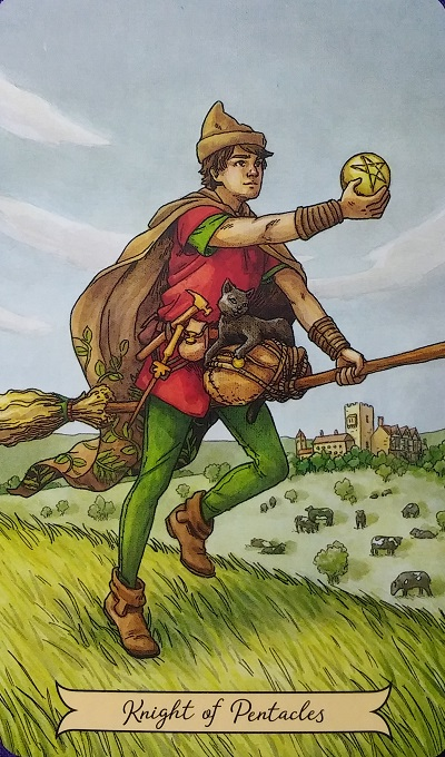 Knight of Pentacles ~ Everyday Witch Tarot, created by Deborah Blake, illustrated by Elisabeth Alba, published by Llewellyn Publishing.