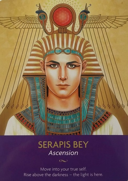 Serapis Bey ~ Keepers of the Light oracle cards, created by Kyle Gray, artwork by Lily Moses, published by Hay House LifeStyles.