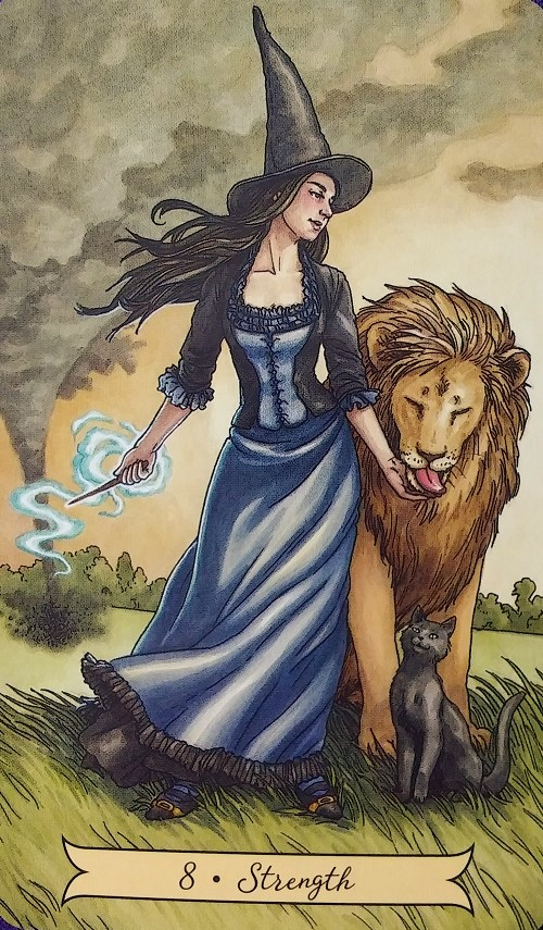 Strength ~ Everyday Witch Tarot, created by Deborah Blake, illustrated by Elisabeth Alba, published by Llewellyn Publishing.