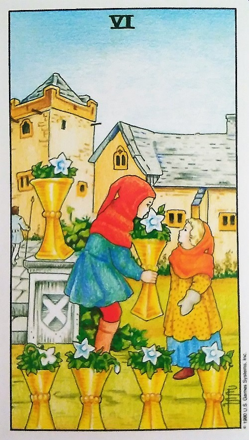 Six of Cups from the Universal Waite Tarot deck, created by Stuart P. Kaplan, drawings by Deborah Colman Smith, recolored by Mary Hanson-Roberts, published by U. S. Games Systems, Inc.