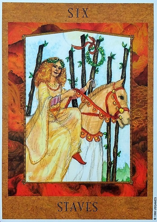 6 of Staves ~ The Goddess Tarot, created by Kris Waldherr, Published by U.S. Games Systems, Inc.