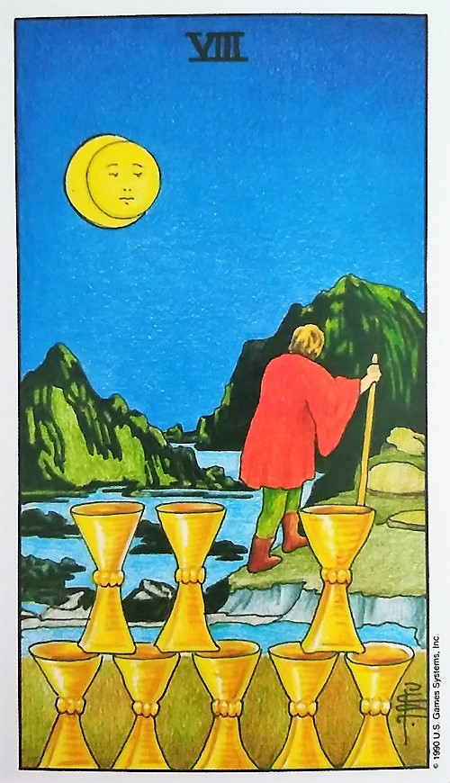 Eight of Cups ~ Universal Waite Tarot created by Stuart P. Kaplan, drawings by Pamela Colman Smith, recolored by Mary Hanson-Roberts, published by U.S. Games Systems, Inc.
