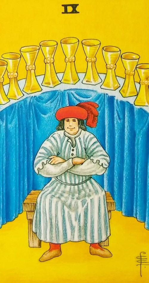 Nine of Cups ~ Universal Waite Tarot, created by Stuart P. Kaplan, drawings by Pamela Colman Smith, recolored by Mary Hanson-Roberts, published by U.S. Games Systems, Inc.