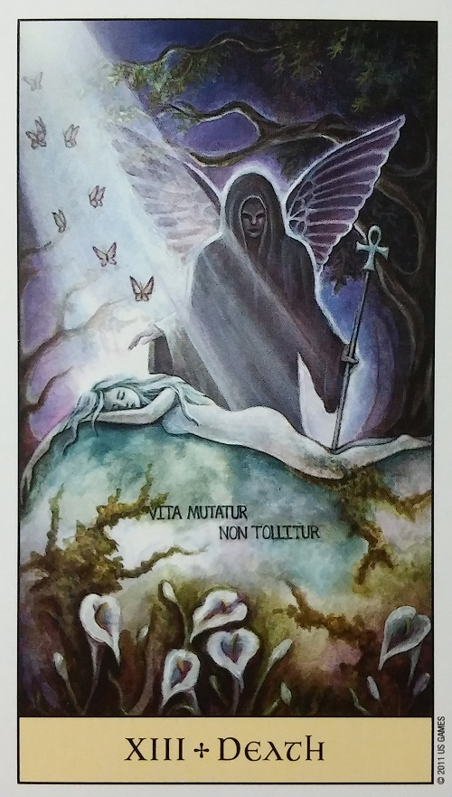 Death ~ Crystal Visions Tarot, created by Jennifer Galasso, published by U.S. Games Systems, Inc.