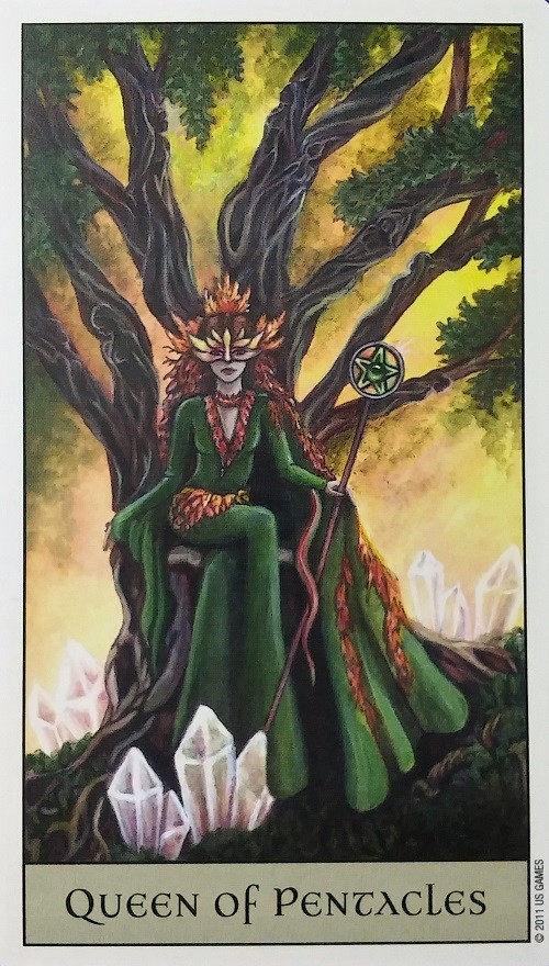 Queen of Pentacles ~ Crystal Visions Tarot, created by Jennifer Galasso, published by U.S. Games Systems, Inc.