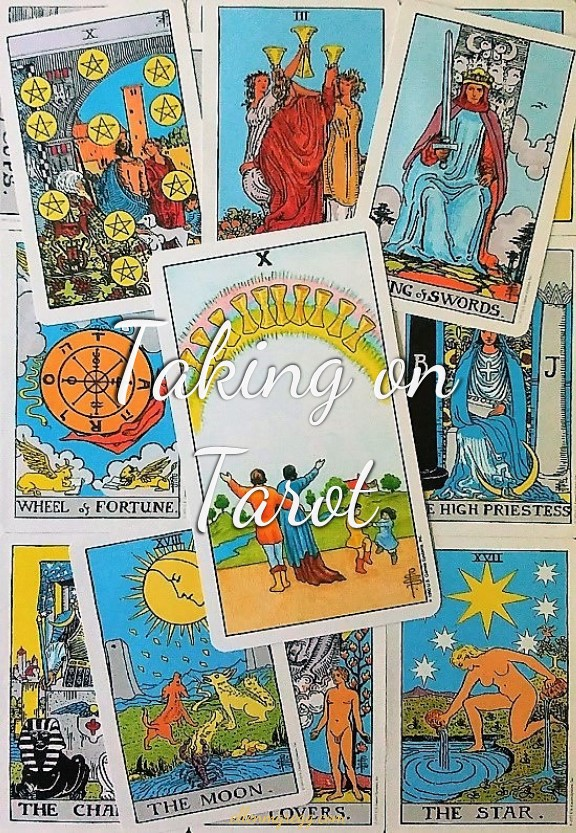 Ten of Cups: Taking On Tarot Self-Study of the Universal Waite Tarot deck, created by Stuart P. Kaplan, drawings by Pamela Colman Smith, recolored by Mary Hanson-Roberts