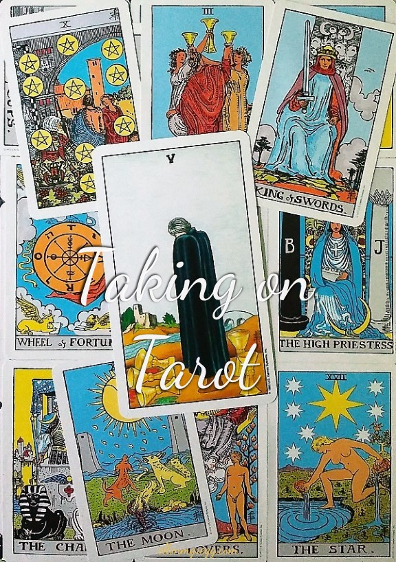Five of Cups ~ Taking On Tarot Self-Study of the Universal Waite Tarot deck, created by Stuart P. Kaplan, drawings by Pamela Colman Smith, recolored by Mary Hanson-Roberts, published by U.S. Games Systems, Inc.