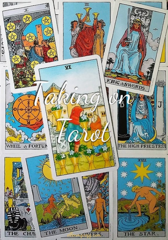 Six of Cups: Taking On Tarot self-study with the Universal Waite Tarot deck, created by Stuart P. Kaplan, drawings by Deborah Colman Smith, recolored by Mary Hanson-Roberts, published by U. S. Games Systems, Inc.