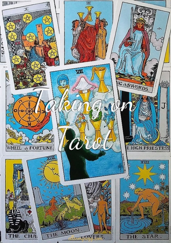 Seven of Cups ~ Taking On Tarot Self-Study of the Universal Waite Tarot deck, created by Stuart P. Kaplan, drawings by Pamela Colman Smith, recolored by Mary Hanson-Roberts, published by U.S. Games Systems, Inc.