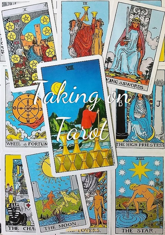 Eight of Cups ~ Taking On Tarot self-study with the Universal Waite Tarot deck, created by Stuart P. Kaplan, drawings by Pamela Colman Smith, recolored by Mary Hanson-Roberts, published by U.S. Games Systems, Inc.
