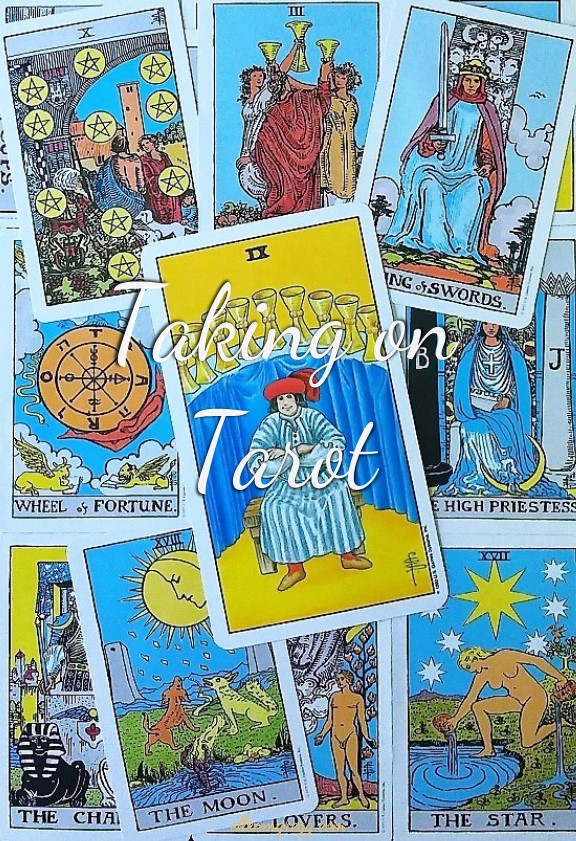 Nine of Cups: Taking On Tarot self-study of the Universal Waite Tarot deck, created by Stuart P. Kaplan, drawings by Pamela Colman Smith, recolored by Mary Hanson-Roberts, published by U.S. Games Systems, Inc.