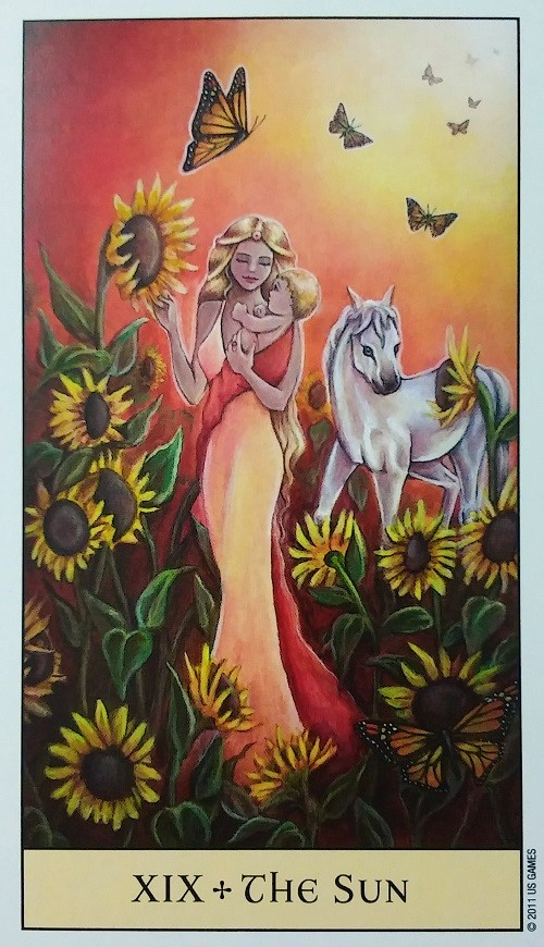 The Sun ~ Crystal Visions Tarot, created by Jennifer Galasso, published by U.S. Games Systems, Inc.