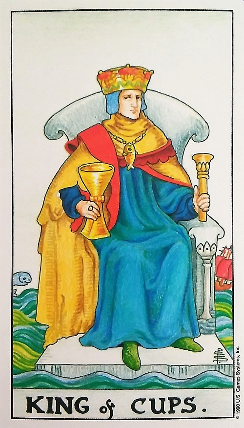 King of Cups ~ Universal Waite Tarot deck, created by Stuart P. Kaplan, drawings by Pamela Colman Smith, recolored by Mary Hanson-Roberts, published by U.S. Games Systems, Inc.
