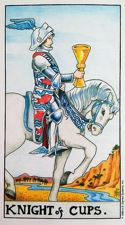 Knight of Cups ~ Universal Waite Tarot deck, created by Stuart P. Kaplan, drawings by Pamela Colman Smith, recolored by Mary Hanson-Roberts, published by U.S. Games Systems, Inc.