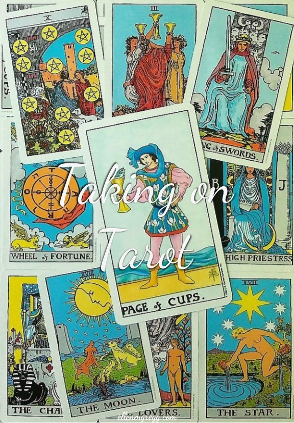 Page of Cups: Taking On Tarot ~ A self-study of the Universal Waite Tarot deck, created by Stuart P. Kaplan, drawings by Pamela Colman Smith, recolored by Mary Hanson-Roberts, published by U.S. Games Systems, Inc.