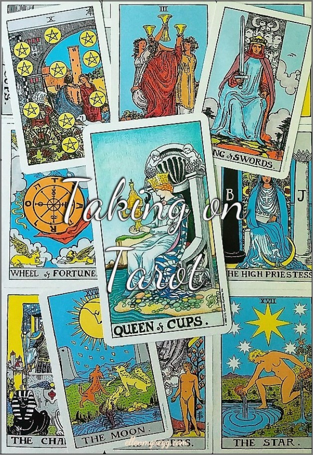 Queen of Cups: Taking On Tarot Self-Study of the Universal Waite Tarot deck, created by Stuart P. Kaplan, drawings by Pamela Colman Smith, recolored by Mary Hanson-Roberts, published by U.S. Games Systems, Inc.