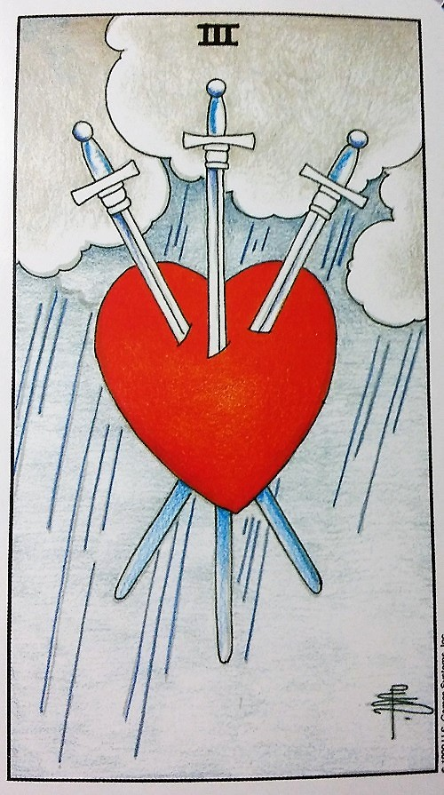 Three of Swords: Taking On Tarot self-study of the Universal Waite Tarot deck, created by Stuart P. Kaplan, artwork by Pamela Colman Smith, recolored by Mary Hanson-Roberts, published by U.S. Games Systems, Inc.