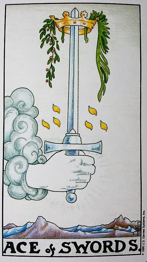 Ace of Swords ~ Universal Waite Tarot, created by Stuart P. Kaplan, drawings by Pamela Colman Smith, recolored by Mary Hanson-Roberts, published by U.S. Games Systems, Inc.