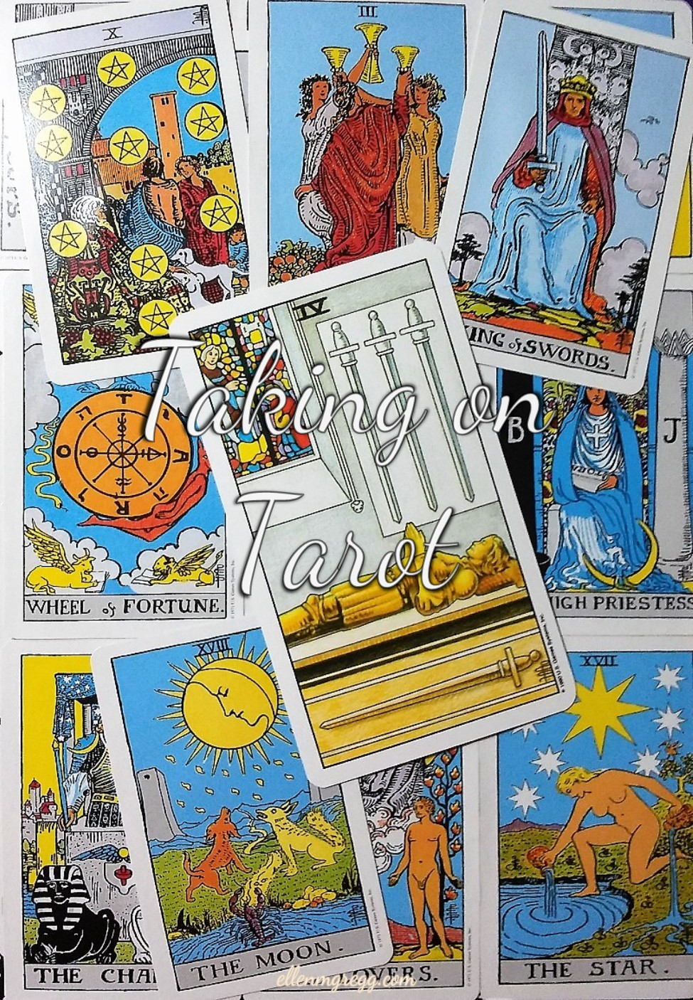 Taking On Tarot: Four of Swords ~ Self-Study of the Universal Waite Tarot deck, created by Stuart P. Kaplan, drawings by Pamela Colman Smith, recolored by Mary Hanson-Roberts, published by U.S. Games Systems, Inc.