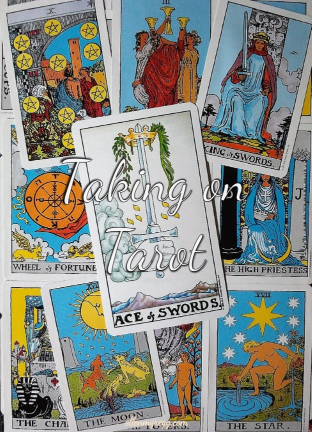Ace of Swords: Taking On Tarot self-study of the Universal Waite Tarot deck, created by Stuart P. Kaplan, drawings by Pamela Colman Smith, recolored by Mary Hanson-Roberts, published by U.S. Games Systems, Inc.
