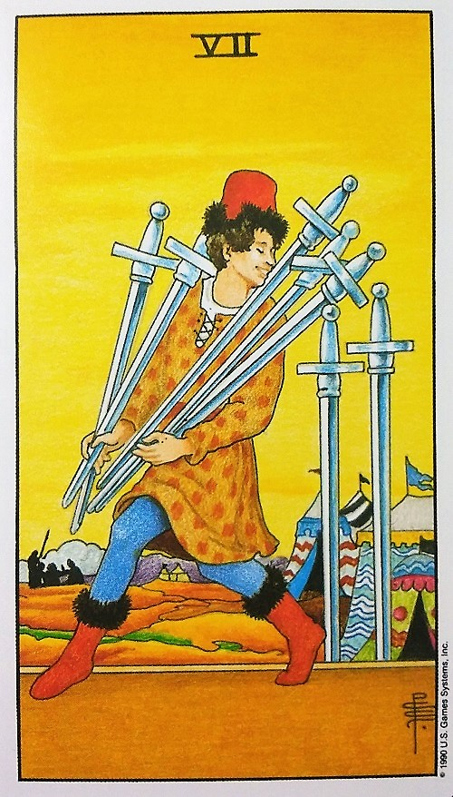 Seven of Swords ~ Universal Waite Tarot deck, created by Stuart P. Kaplan, drawings by Pamela Colman Smith, recoloring by Mary Hanson-Roberts, published by U.S. Games Systems, Inc.