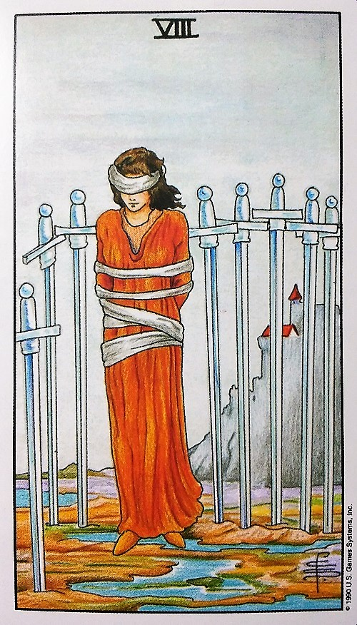 Eight of Swords from the Universal Waite Tarot deck created by Stuart P. Kaplan, drawings by Pamela Colman Smith, recoloring by Mary Hanson-Roberts, published by U.S. Games Systems, Inc. ~ Intuitive Ellen