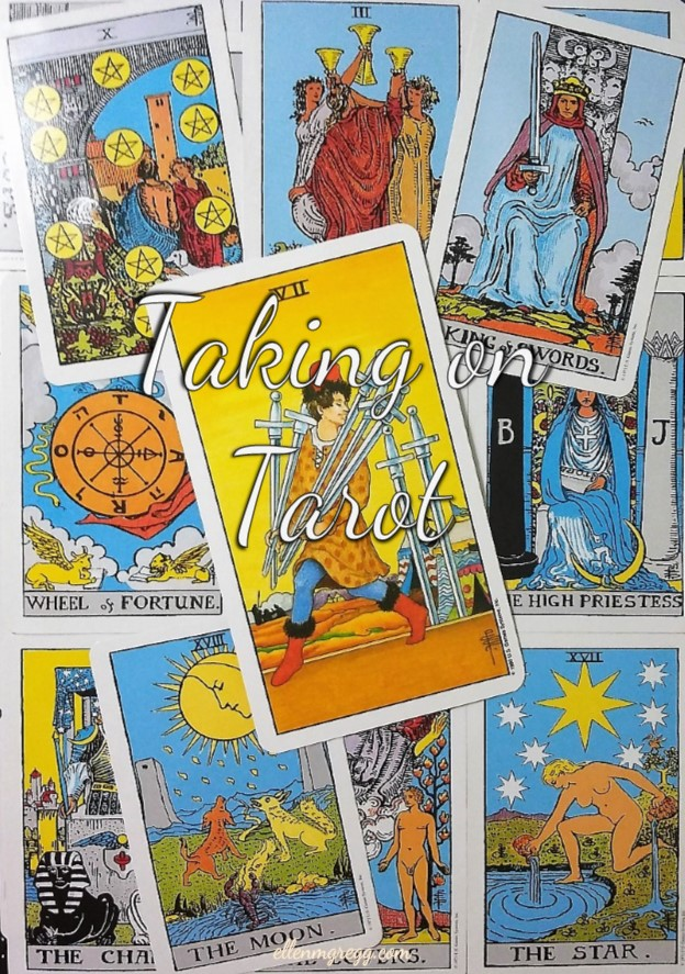 Seven of Swords: Taking On Tarot, a self-study of the Universal Waite Tarot deck, created by Stuart P. Kaplan, drawings by Pamela Colman Smith, recoloring by Mary Hanson-Roberts, published by U.S. Games Systems, Inc.