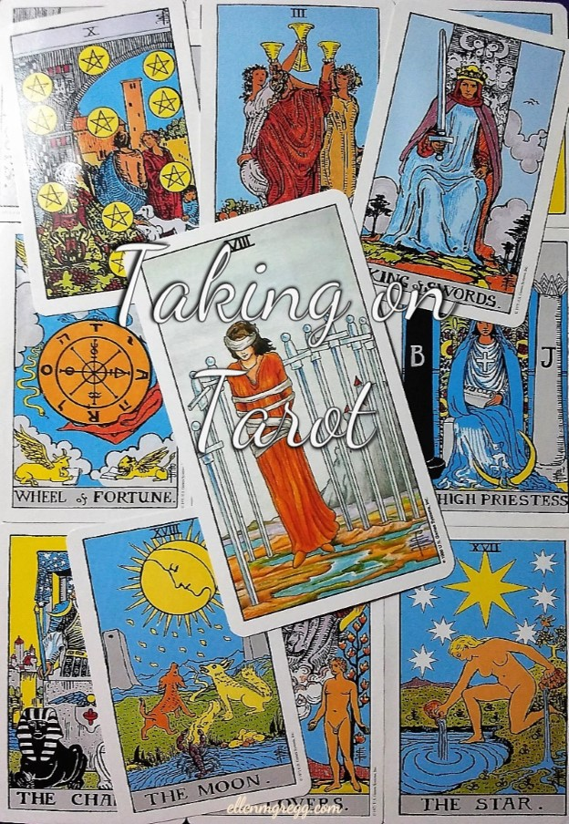 Eight of Swords: Taking On Tarot, a self-study of the Universal Waite Tarot deck created by Stuart P. Kaplan, drawings by Pamela Colman Smith, recoloring by Mary Hanson-Roberts, published by U.S. Games Systems, Inc. ~ Intuitive Ellen