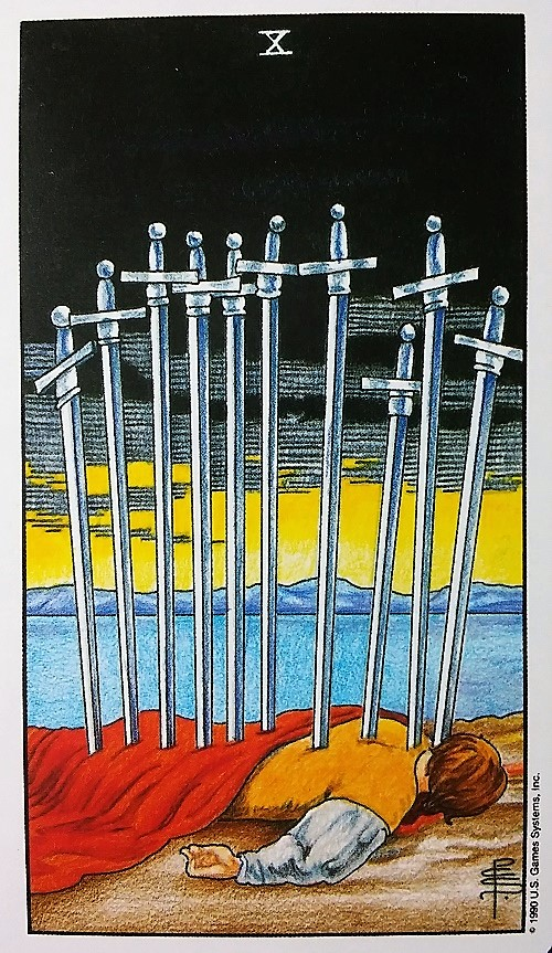 10 of Swords: Taking On Tarot, a self-study of the Universal Waite Tarot deck created by Stuart P. Kaplan, drawings by Pamela Colman Smith, recolored by Mary Hanson-Roberts, published by U.S. Games Systems, Inc.