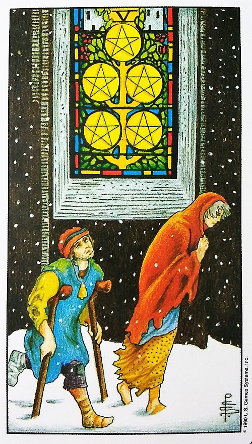 Five of Pentacles: Taking On Tarot, a self-study of the Universal Waite Tarot deck created by Stuart P. Kaplan, drawings by Pamela Colman Smith, recolored by Mary Hanson-Roberts, published by U.S. Games Systems, Inc.