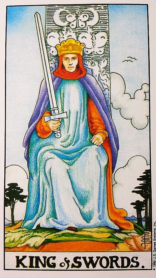 King of Swords: Taking On Tarot, a self-study of the Universal Waite Tarot deck created by Stuart P. Kaplan, drawings by Pamela Colman Smith, recolored by Mary Hanson-Roberts, published by U.S. Games Systems, Inc.