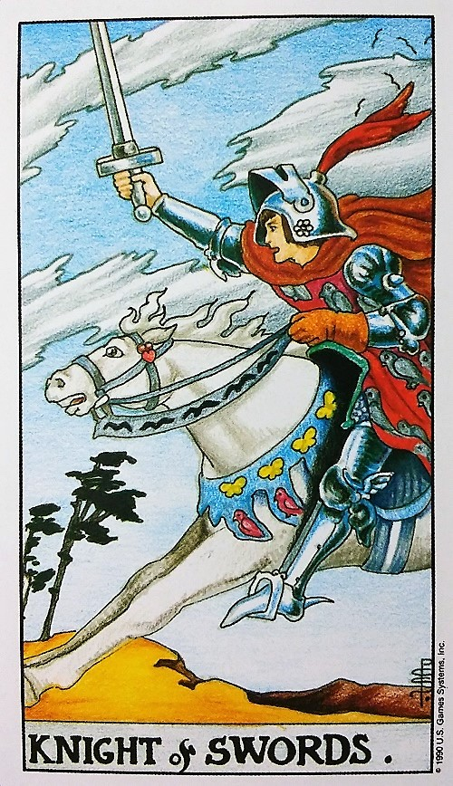 Knight of Swords: Taking On Tarot, a self-study of the Universal Waite Tarot deck created by Stuart P. Kaplan, drawings by Pamela Colman Smith, recolored by Mary Hanson-Roberts, published by U.S. Games Systems, Inc.