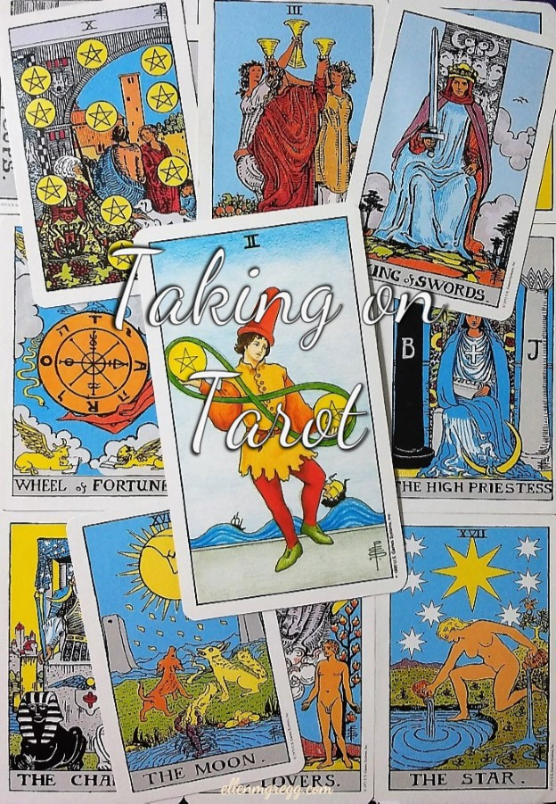 Two of Pentacles: Taking On Tarot, a self-study of the Universal Waite Tarot deck created by Stuart P. Kaplan, drawings by Pamela Colman Smith, recolored by Mary Hanson-Roberts, published by U.S. Games Systems, Inc. ~ Intuitive Ellen