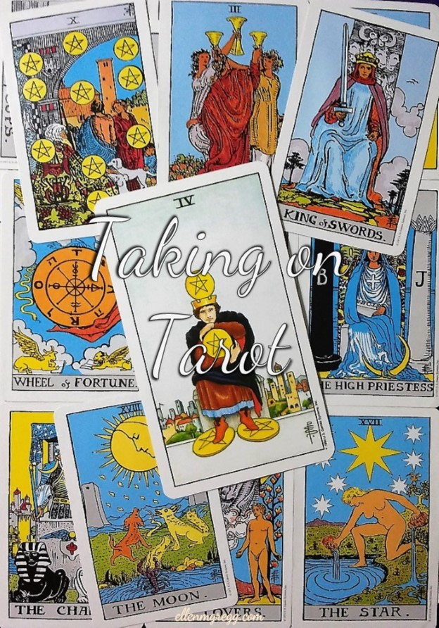 Four of Pentacles: Taking On Tarot, a self-study of the Universal Waite Tarot deck, created by Stuart P. Kaplan, drawings by Pamela Colman Smith, recolored by Mary Hanson-Roberts, published by U.S. Games Systems, Inc.