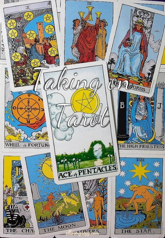 Ace of Pentacles: Taking On Tarot, a self-study of the Universal Waite Tarot deck created by Stuart P. Kaplan, drawings by Pamela Colman Smith, recolored by Mary Hanson-Roberts, published by U.S. Games Systems, Inc. ~ Intuitive Ellen